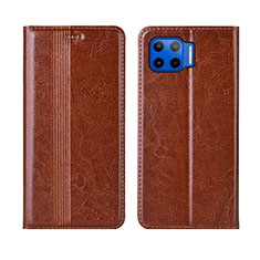 Coque Portefeuille Livre Cuir Etui Clapet L03 pour Motorola Moto G 5G Plus Brun Clair