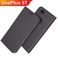 Coque Portefeuille Livre Cuir Etui Clapet L03 pour OnePlus 5T A5010 Noir