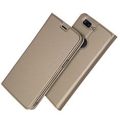 Coque Portefeuille Livre Cuir Etui Clapet L03 pour OnePlus 5T A5010 Or