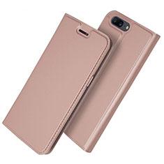 Coque Portefeuille Livre Cuir Etui Clapet L03 pour OnePlus 5T A5010 Or Rose