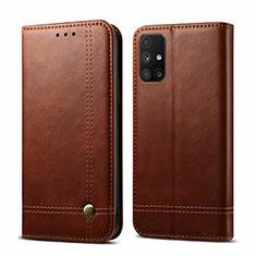 Coque Portefeuille Livre Cuir Etui Clapet L03 pour Samsung Galaxy M51 Marron