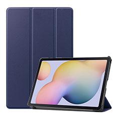 Coque Portefeuille Livre Cuir Etui Clapet L03 pour Samsung Galaxy Tab S7 4G 11 SM-T875 Bleu
