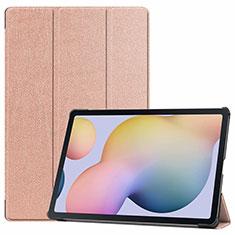 Coque Portefeuille Livre Cuir Etui Clapet L03 pour Samsung Galaxy Tab S7 Plus 5G 12.4 SM-T976 Or Rose