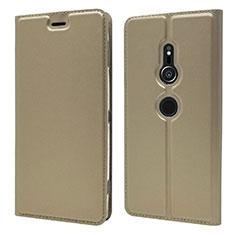 Coque Portefeuille Livre Cuir Etui Clapet L03 pour Sony Xperia XZ2 Or