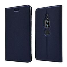 Coque Portefeuille Livre Cuir Etui Clapet L03 pour Sony Xperia XZ2 Premium Bleu
