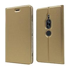 Coque Portefeuille Livre Cuir Etui Clapet L03 pour Sony Xperia XZ2 Premium Or