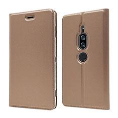 Coque Portefeuille Livre Cuir Etui Clapet L03 pour Sony Xperia XZ2 Premium Or Rose