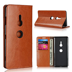 Coque Portefeuille Livre Cuir Etui Clapet L03 pour Sony Xperia XZ3 Orange