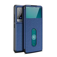 Coque Portefeuille Livre Cuir Etui Clapet L03 pour Vivo X60 Pro 5G Bleu