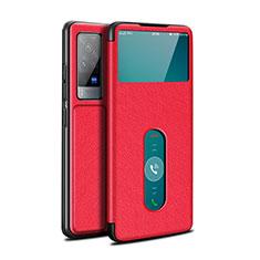 Coque Portefeuille Livre Cuir Etui Clapet L03 pour Vivo X60 Pro 5G Rouge