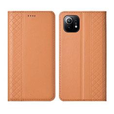 Coque Portefeuille Livre Cuir Etui Clapet L03 pour Xiaomi Mi 11 5G Orange