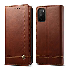 Coque Portefeuille Livre Cuir Etui Clapet L03 pour Xiaomi Poco M3 Marron