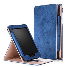 Coque Portefeuille Livre Cuir Etui Clapet L04 pour Amazon Kindle Paperwhite 6 inch Bleu