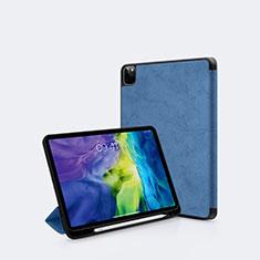 Coque Portefeuille Livre Cuir Etui Clapet L04 pour Apple iPad Pro 11 (2020) Bleu