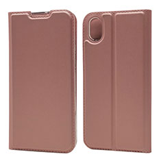 Coque Portefeuille Livre Cuir Etui Clapet L04 pour Huawei Honor Play 8 Or Rose