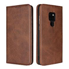 Coque Portefeuille Livre Cuir Etui Clapet L04 pour Huawei Mate 20 Marron