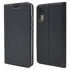 Coque Portefeuille Livre Cuir Etui Clapet L04 pour Huawei P20 Noir