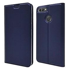 Coque Portefeuille Livre Cuir Etui Clapet L04 pour Huawei Y9 (2018) Bleu