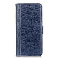 Coque Portefeuille Livre Cuir Etui Clapet L04 pour Motorola Moto One Fusion Bleu