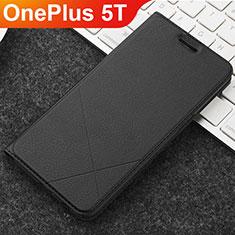 Coque Portefeuille Livre Cuir Etui Clapet L04 pour OnePlus 5T A5010 Noir