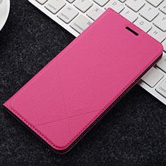 Coque Portefeuille Livre Cuir Etui Clapet L04 pour OnePlus 5T A5010 Rose Rouge
