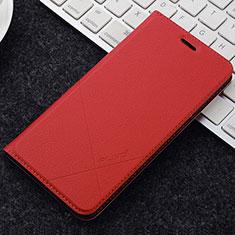 Coque Portefeuille Livre Cuir Etui Clapet L04 pour OnePlus 5T A5010 Rouge