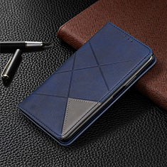 Coque Portefeuille Livre Cuir Etui Clapet L04 pour Samsung Galaxy M21 Bleu