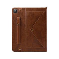 Coque Portefeuille Livre Cuir Etui Clapet L04 pour Samsung Galaxy Tab S6 Lite 4G 10.4 SM-P615 Marron