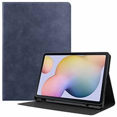 Coque Portefeuille Livre Cuir Etui Clapet L04 pour Samsung Galaxy Tab S7 4G 11 SM-T875 Bleu