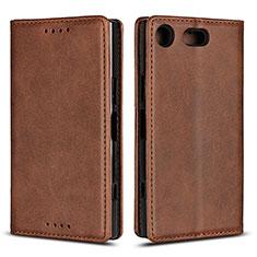Coque Portefeuille Livre Cuir Etui Clapet L04 pour Sony Xperia XZ1 Compact Marron