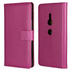 Coque Portefeuille Livre Cuir Etui Clapet L04 pour Sony Xperia XZ2 Rose Rouge