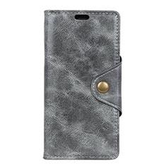 Coque Portefeuille Livre Cuir Etui Clapet L05 pour Asus Zenfone Max Pro M2 ZB631KL Gris