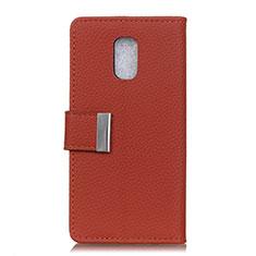 Coque Portefeuille Livre Cuir Etui Clapet L05 pour Asus ZenFone V Live Vin Rouge