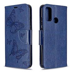 Coque Portefeuille Livre Cuir Etui Clapet L05 pour Huawei P Smart (2020) Bleu