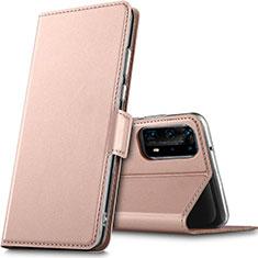 Coque Portefeuille Livre Cuir Etui Clapet L05 pour Huawei P40 Pro+ Plus Or Rose