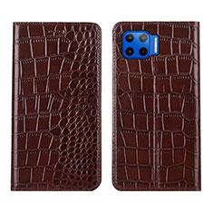 Coque Portefeuille Livre Cuir Etui Clapet L05 pour Motorola Moto One 5G Marron
