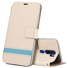 Coque Portefeuille Livre Cuir Etui Clapet L05 pour Oppo A11X Or