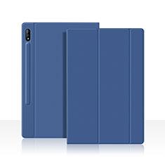 Coque Portefeuille Livre Cuir Etui Clapet L05 pour Samsung Galaxy Tab S7 4G 11 SM-T875 Bleu