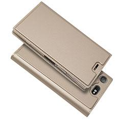 Coque Portefeuille Livre Cuir Etui Clapet L05 pour Sony Xperia XZ1 Compact Or