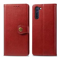 Coque Portefeuille Livre Cuir Etui Clapet L06 pour Oppo Reno3 A Rouge