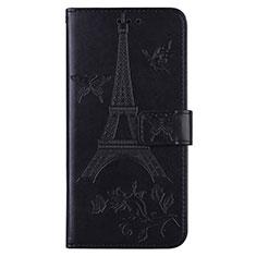 Coque Portefeuille Livre Cuir Etui Clapet L06 pour Sony Xperia 8 Lite Noir