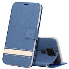 Coque Portefeuille Livre Cuir Etui Clapet L07 pour Huawei Mate 30 Lite Bleu