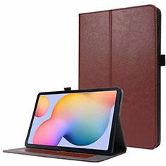 Coque Portefeuille Livre Cuir Etui Clapet L07 pour Samsung Galaxy Tab S7 4G 11 SM-T875 Marron