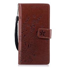 Coque Portefeuille Livre Cuir Etui Clapet L08 pour Huawei P20 Marron