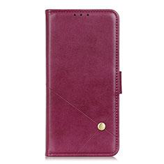 Coque Portefeuille Livre Cuir Etui Clapet L08 pour LG Q52 Vin Rouge