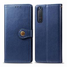 Coque Portefeuille Livre Cuir Etui Clapet L08 pour Sony Xperia 5 II Bleu