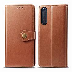 Coque Portefeuille Livre Cuir Etui Clapet L08 pour Sony Xperia 5 II Marron
