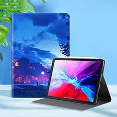 Coque Portefeuille Livre Cuir Etui Clapet L09 pour Apple iPad Pro 12.9 (2020) Bleu