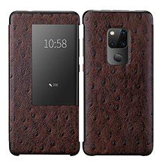 Coque Portefeuille Livre Cuir Etui Clapet L09 pour Huawei Mate 20 Marron