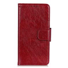 Coque Portefeuille Livre Cuir Etui Clapet L09 pour LG K92 5G Vin Rouge